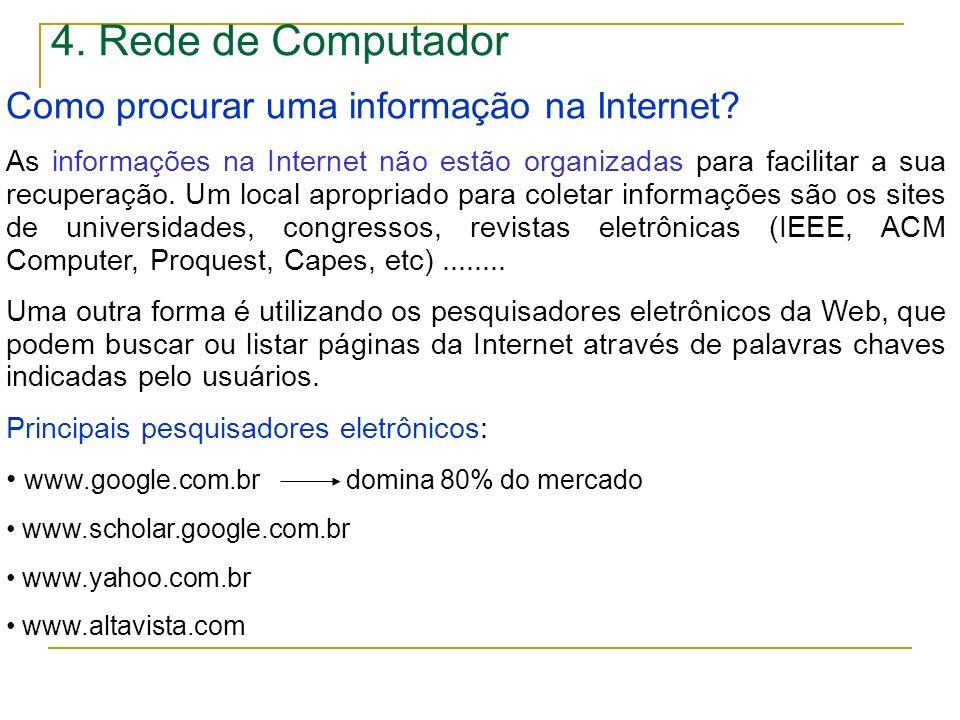 4. Rede de Computador Como procurar uma informação na Internet