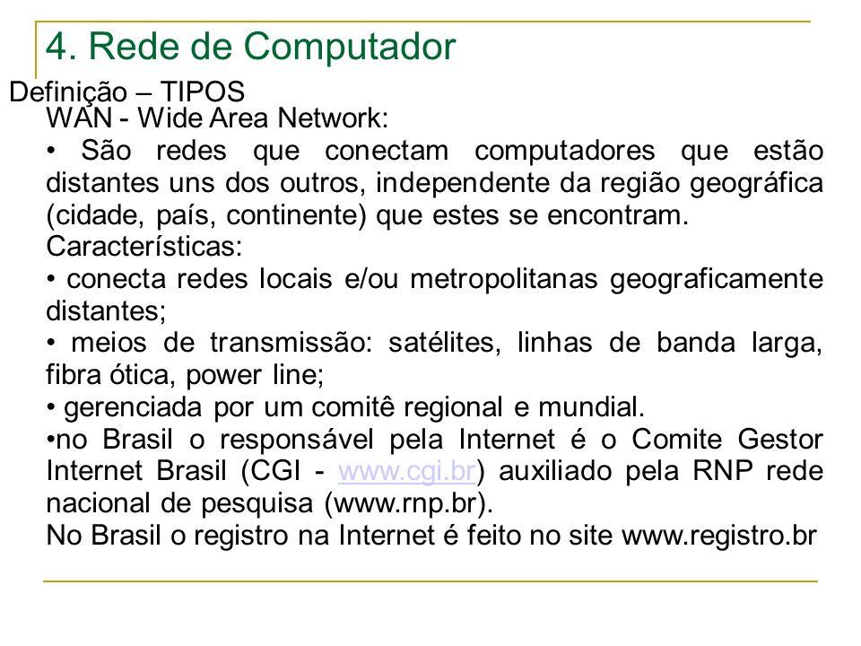 4. Rede de Computador Definição – TIPOS WAN - Wide Area Network: