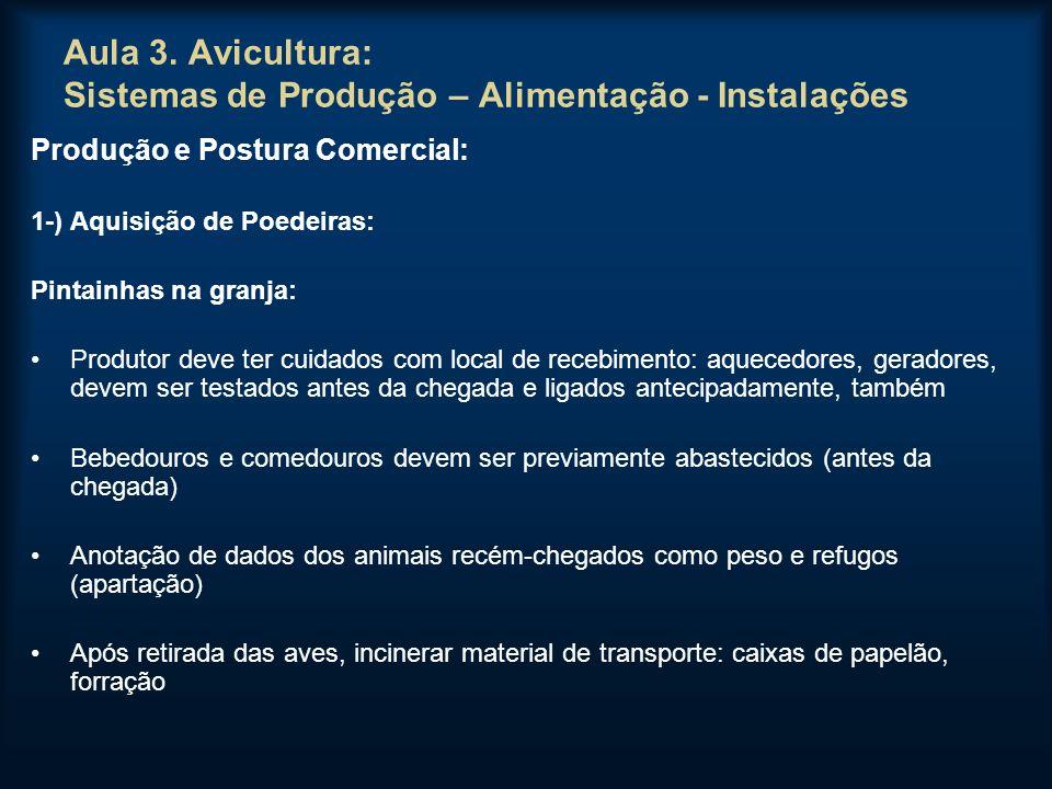 Aula 3. Avicultura: Sistemas de Produção – Alimentação - Instalações