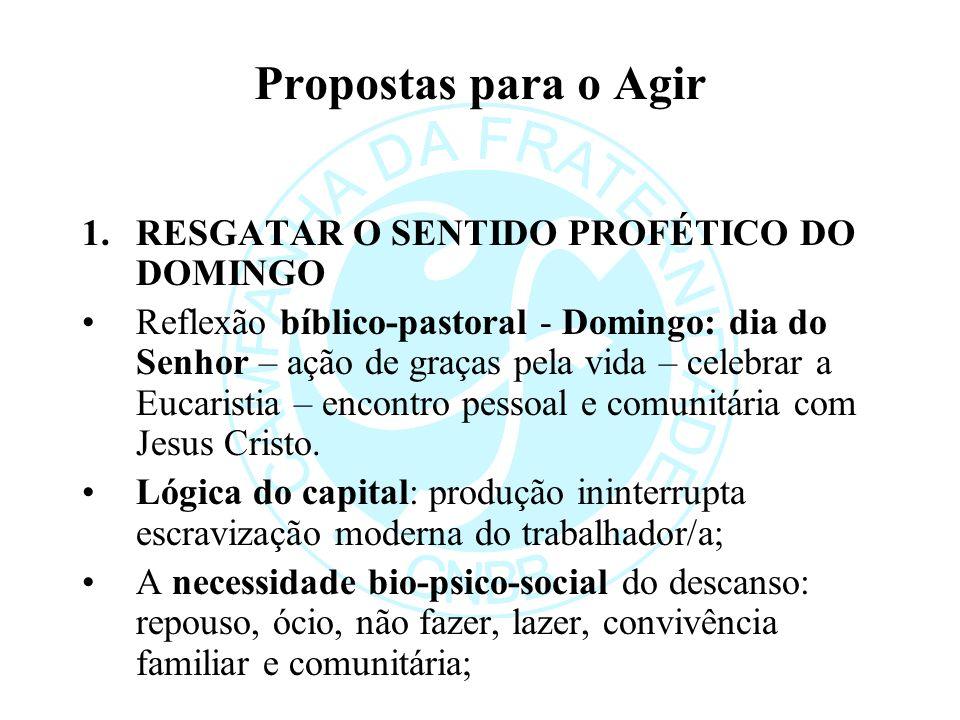 Propostas para o Agir RESGATAR O SENTIDO PROFÉTICO DO DOMINGO