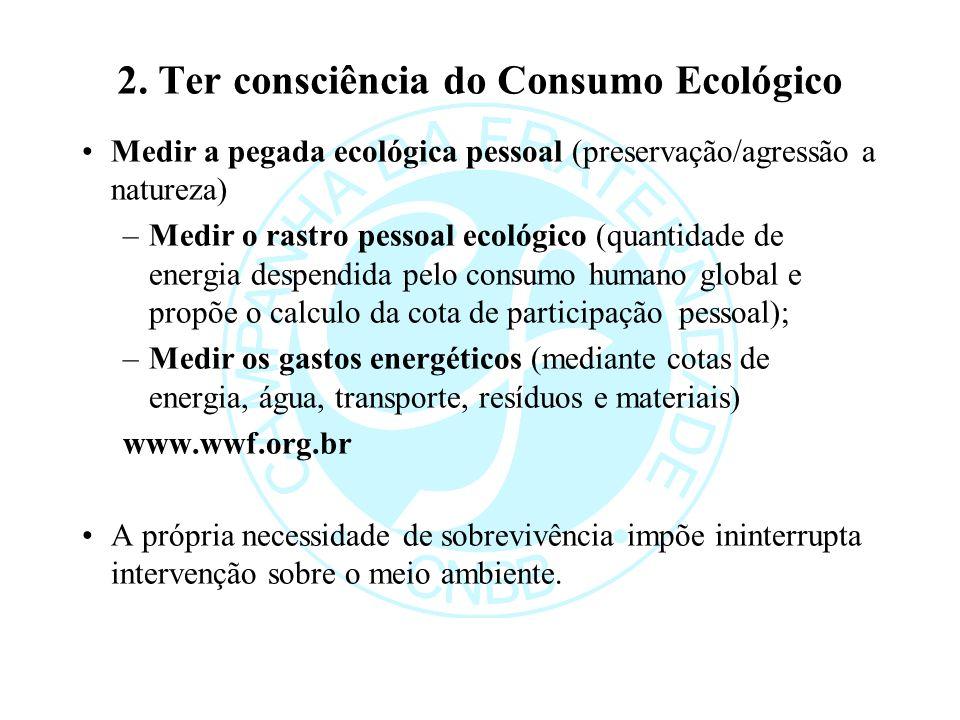 2. Ter consciência do Consumo Ecológico