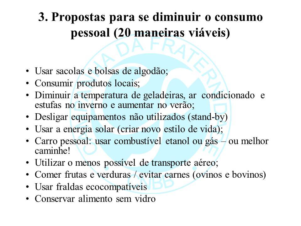 3. Propostas para se diminuir o consumo pessoal (20 maneiras viáveis)