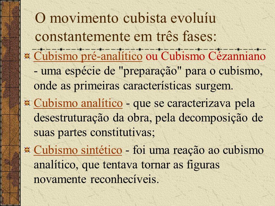 O movimento cubista evoluíu constantemente em três fases: