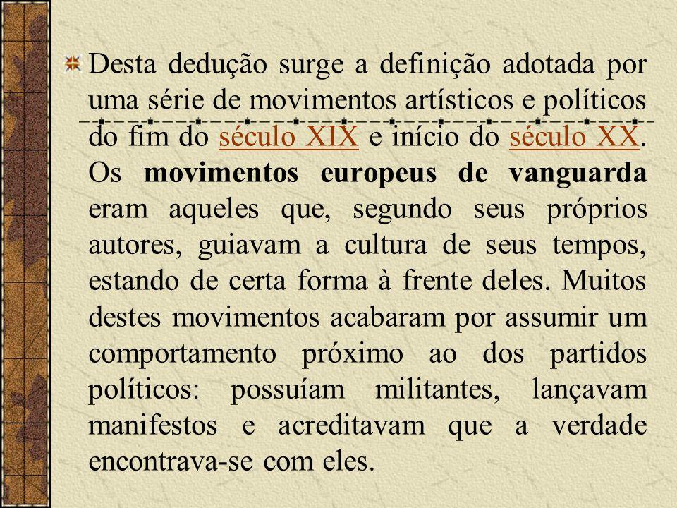 Desta dedução surge a definição adotada por uma série de movimentos artísticos e políticos do fim do século XIX e início do século XX.