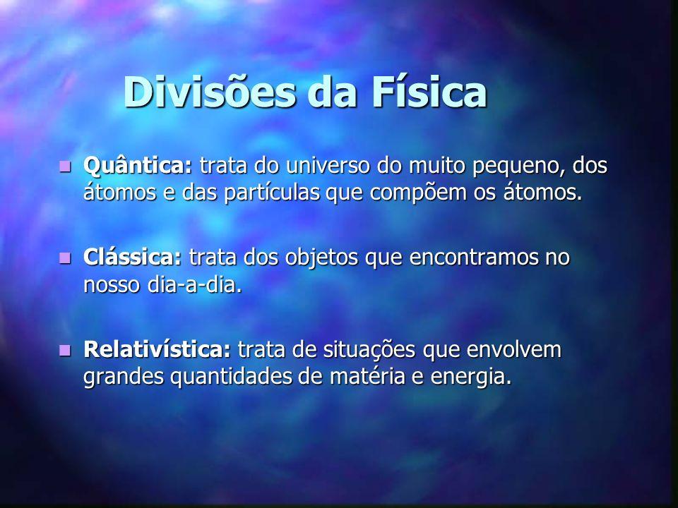 Divisões da Física Quântica: trata do universo do muito pequeno, dos átomos e das partículas que compõem os átomos.