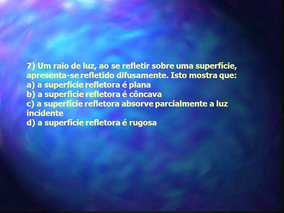 7) Um raio de luz, ao se refletir sobre uma superfície, apresenta-se refletido difusamente.