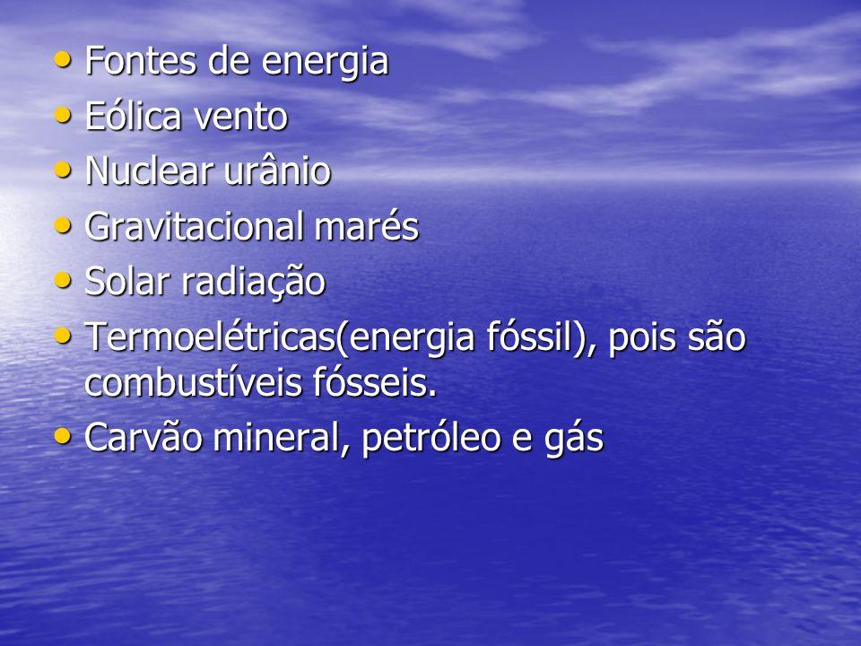 Fontes de energia Eólica vento. Nuclear urânio. Gravitacional marés. Solar radiação.
