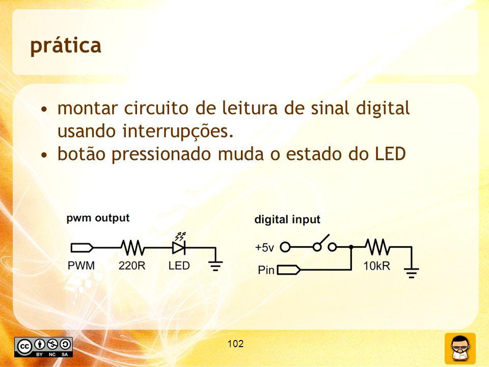 prática montar circuito de leitura de sinal digital usando interrupções. botão pressionado muda o estado do LED.