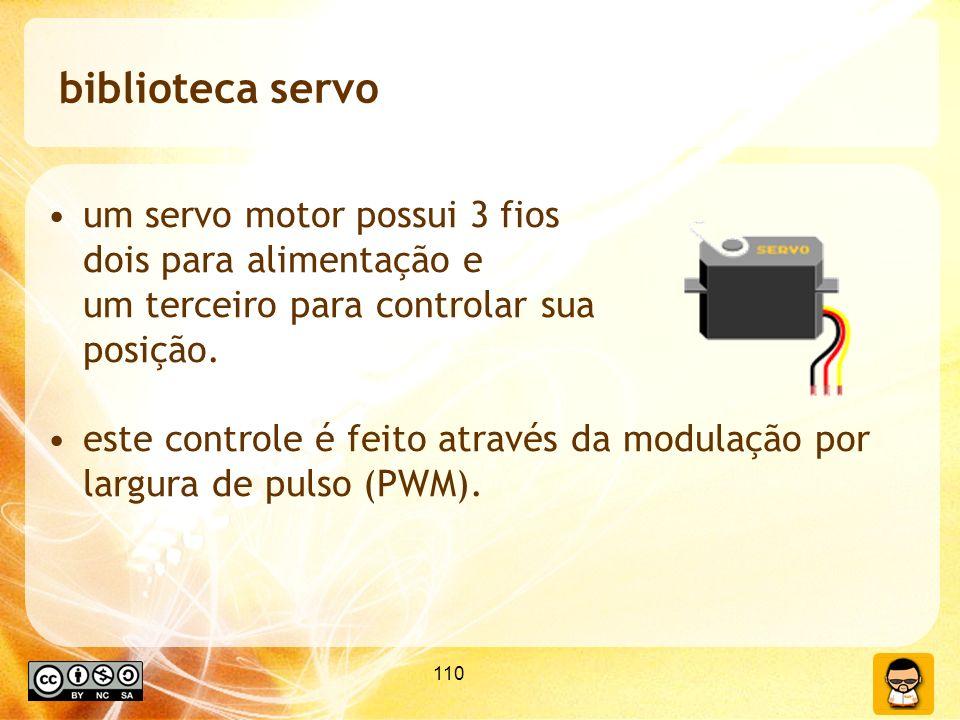 biblioteca servo um servo motor possui 3 fios dois para alimentação e um terceiro para controlar sua posição.