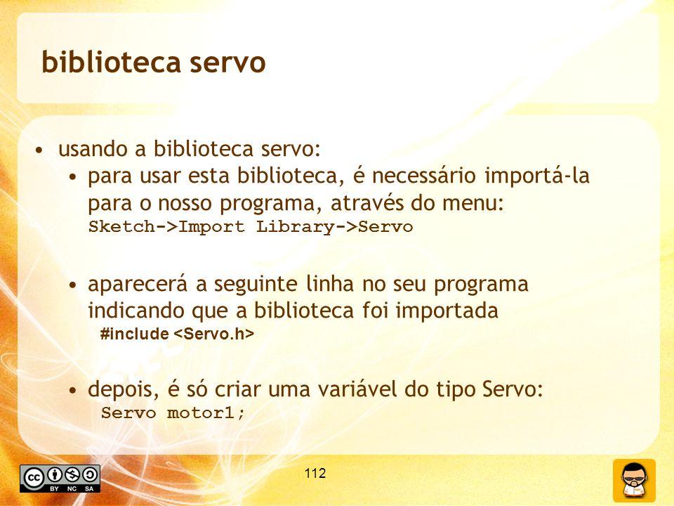 biblioteca servo usando a biblioteca servo:
