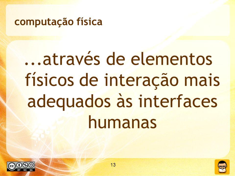 computação física ...através de elementos físicos de interação mais adequados às interfaces humanas