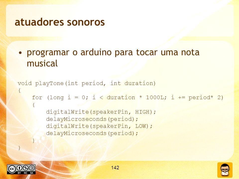 atuadores sonoros programar o arduino para tocar uma nota musical