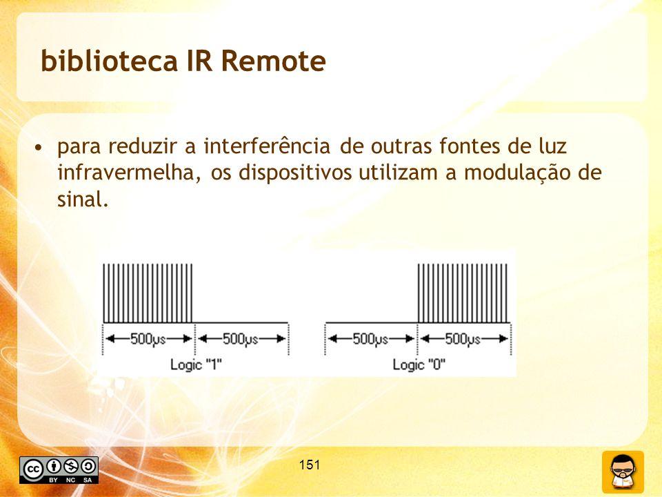 biblioteca IR Remote para reduzir a interferência de outras fontes de luz infravermelha, os dispositivos utilizam a modulação de sinal.
