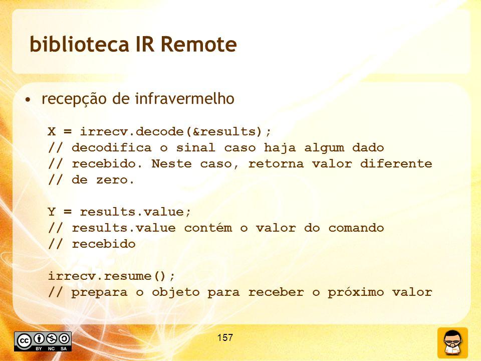 biblioteca IR Remote recepção de infravermelho