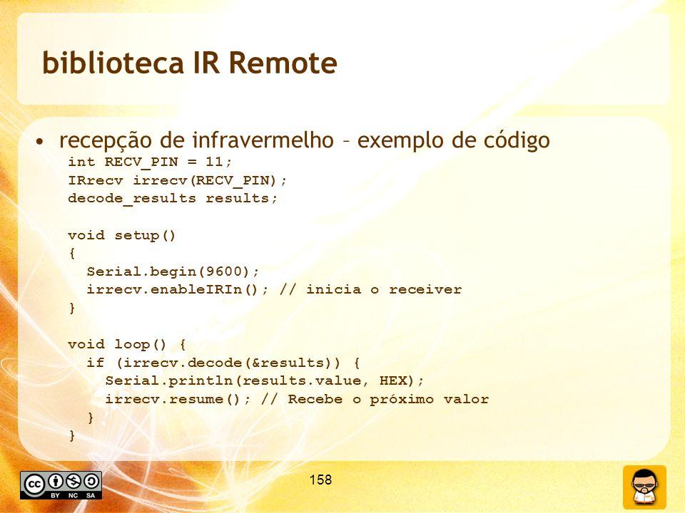 biblioteca IR Remote recepção de infravermelho – exemplo de código