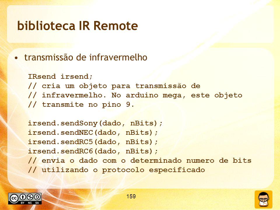 biblioteca IR Remote transmissão de infravermelho IRsend irsend;