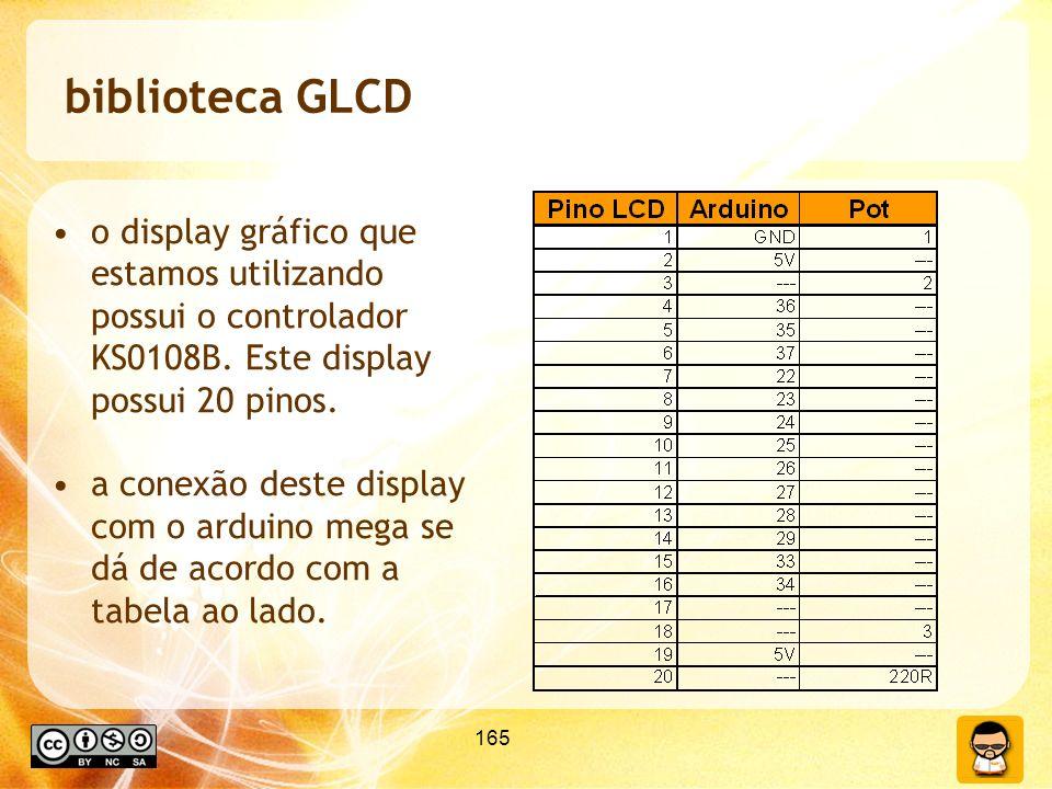 biblioteca GLCD o display gráfico que estamos utilizando possui o controlador KS0108B. Este display possui 20 pinos.