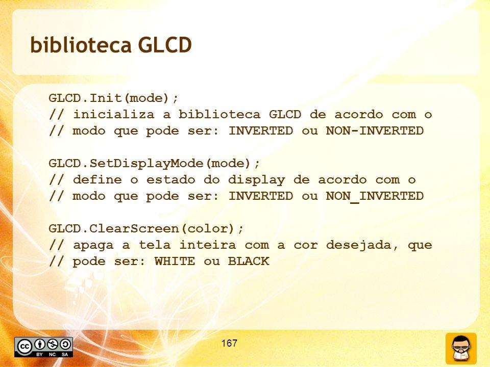 biblioteca GLCD GLCD.Init(mode);