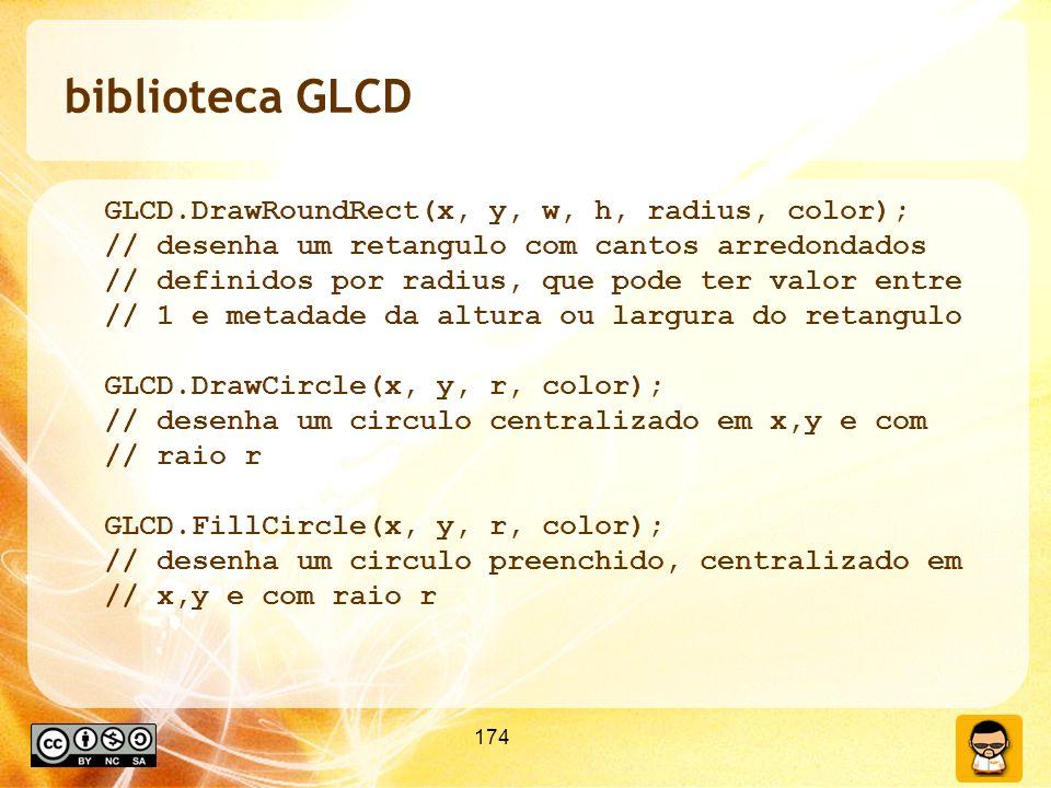 biblioteca GLCD GLCD.DrawRoundRect(x, y, w, h, radius, color);