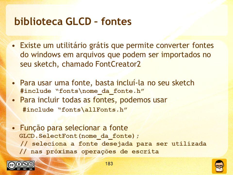 biblioteca GLCD – fontes