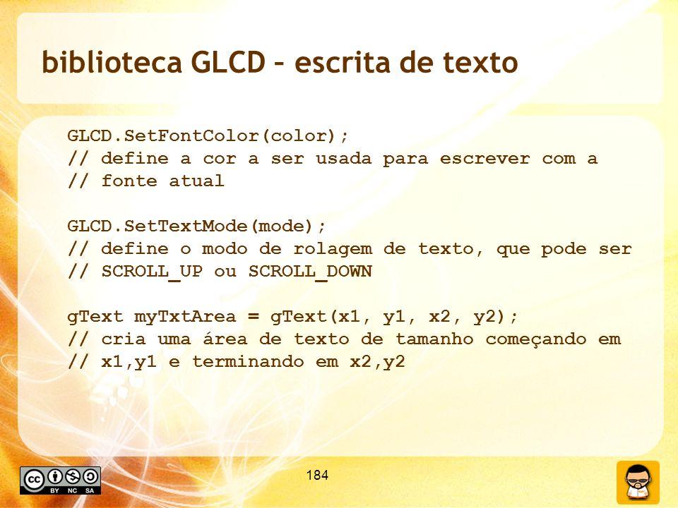 biblioteca GLCD – escrita de texto