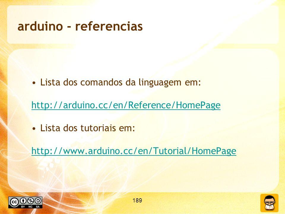 arduino - referencias Lista dos comandos da linguagem em: