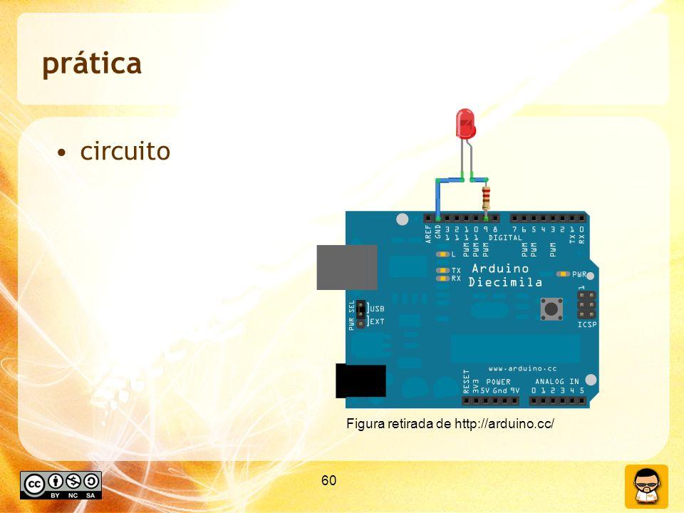 prática circuito Figura retirada de http://arduino.cc/