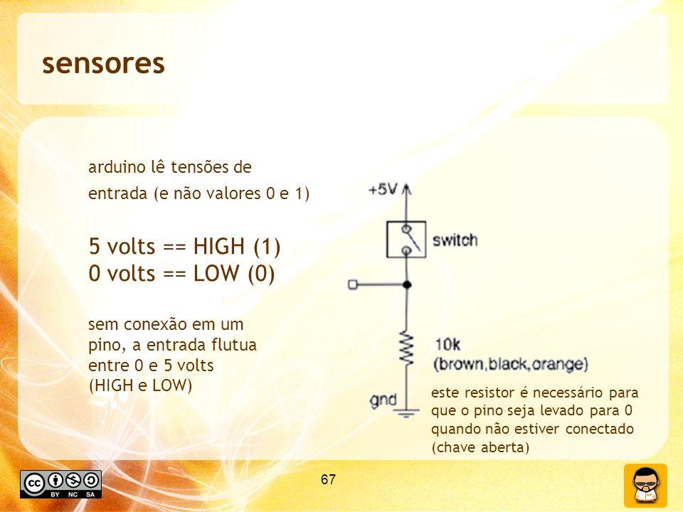 sensores 5 volts == HIGH (1) 0 volts == LOW (0) arduino lê tensões de