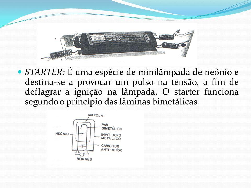 STARTER: É uma espécie de minilâmpada de neônio e destina-se a provocar um pulso na tensão, a fim de deflagrar a ignição na lâmpada.