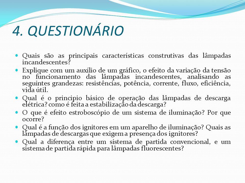 4. QUESTIONÁRIO Quais são as principais características construtivas das lâmpadas incandescentes