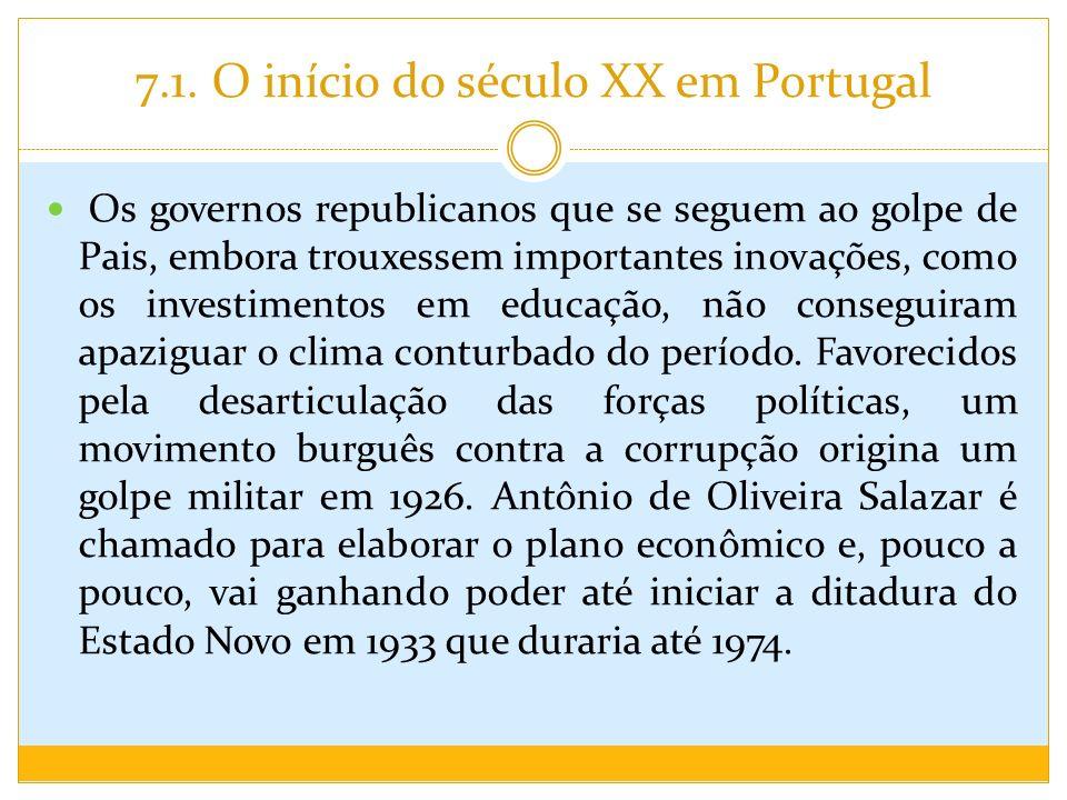 7.1. O início do século XX em Portugal