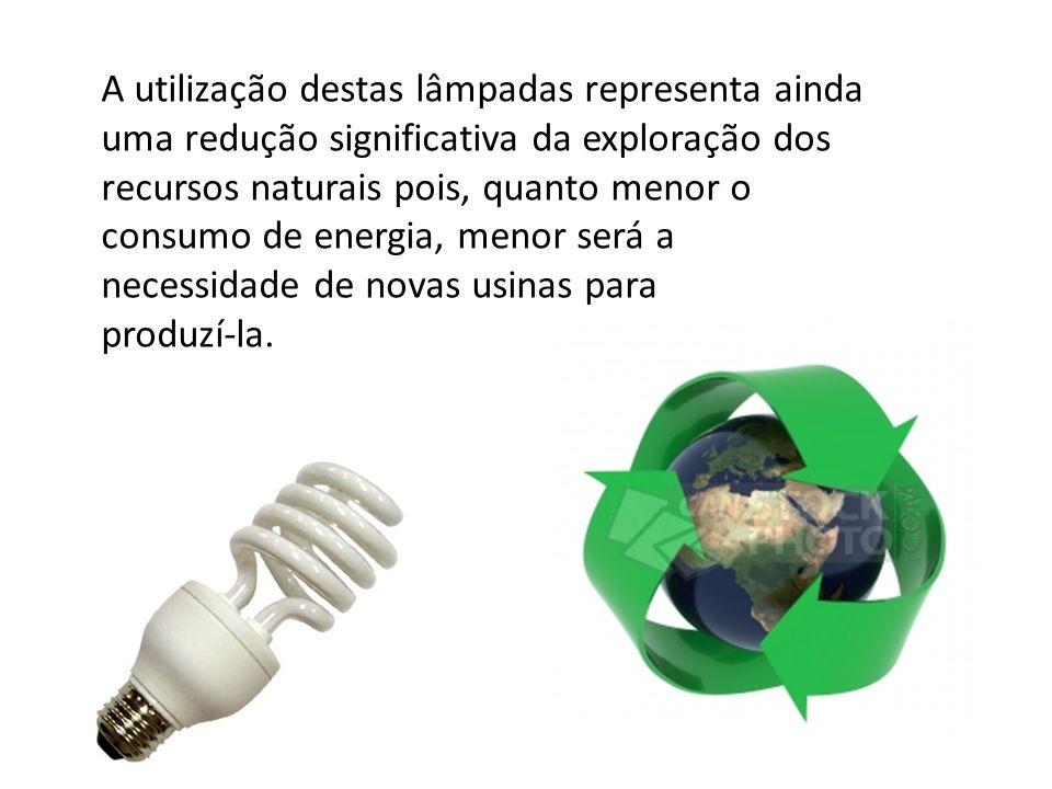 A utilização destas lâmpadas representa ainda uma redução significativa da exploração dos recursos naturais pois, quanto menor o consumo de energia, menor será a necessidade de novas usinas para produzí-la.