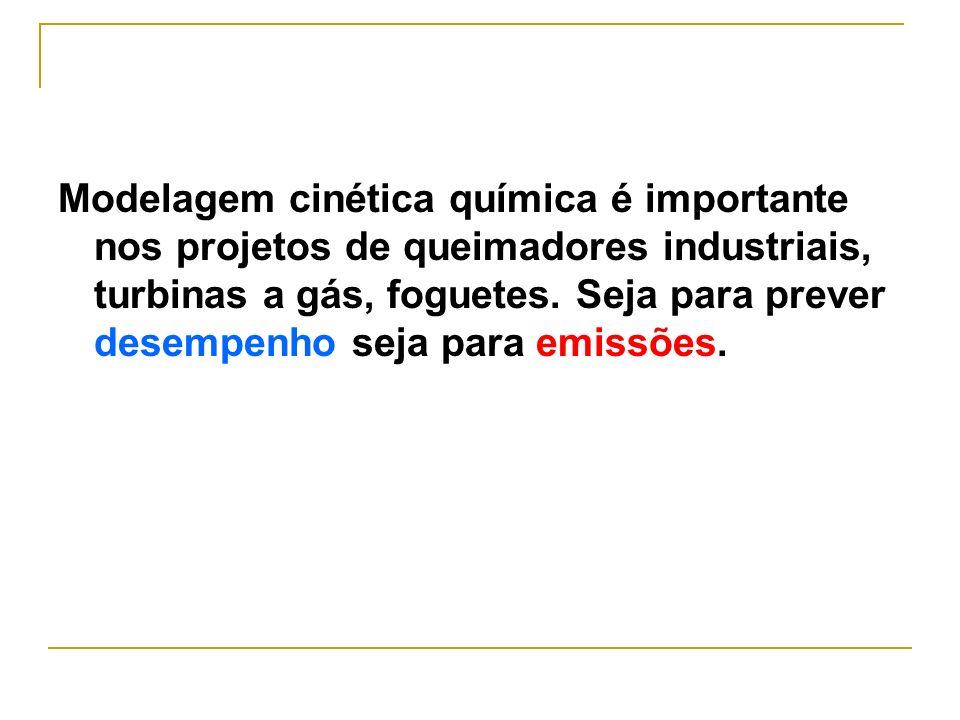 Modelagem cinética química é importante nos projetos de queimadores industriais, turbinas a gás, foguetes.