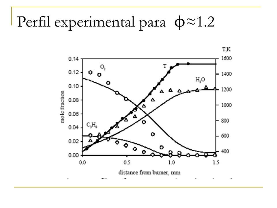 Perfil experimental para ϕ≈1.2