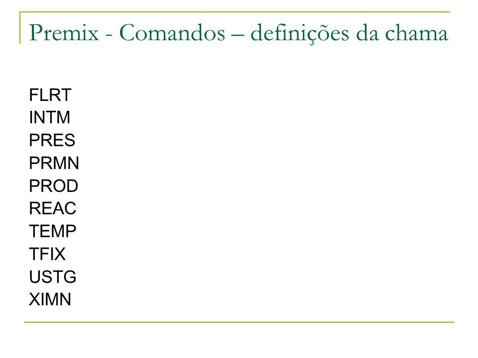 Premix - Comandos – definições da chama