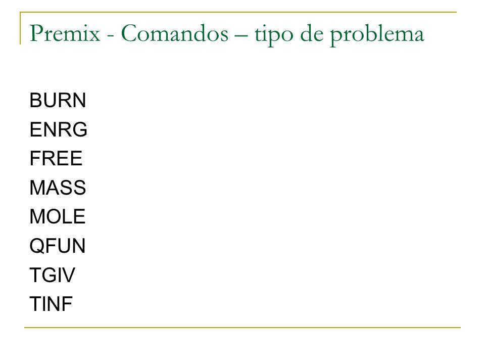 Premix - Comandos – tipo de problema