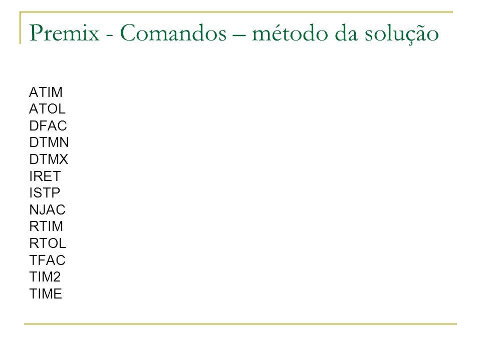 Premix - Comandos – método da solução