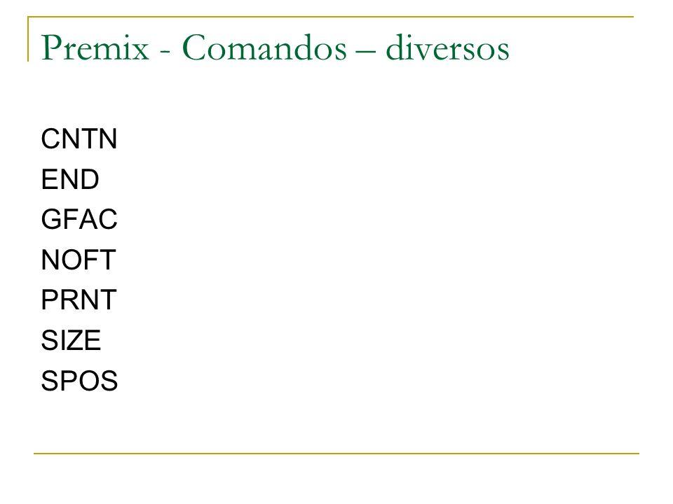 Premix - Comandos – diversos