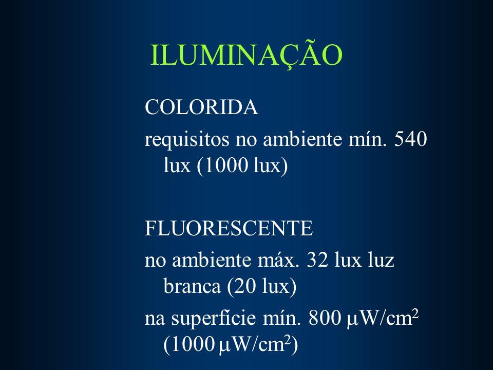ILUMINAÇÃO COLORIDA requisitos no ambiente mín. 540 lux (1000 lux)