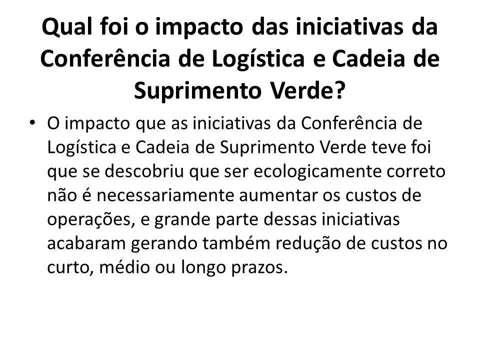 Qual foi o impacto das iniciativas da Conferência de Logística e Cadeia de Suprimento Verde