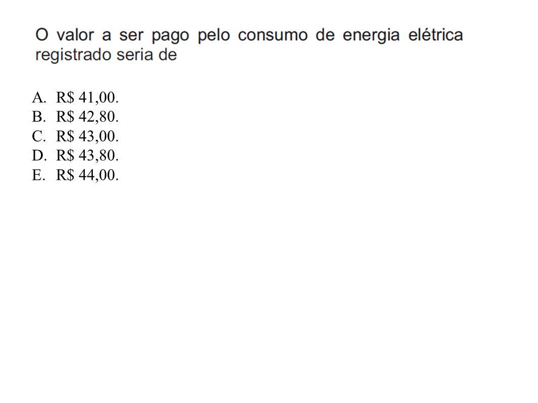 R$ 41,00. R$ 42,80. R$ 43,00. R$ 43,80. R$ 44,00.
