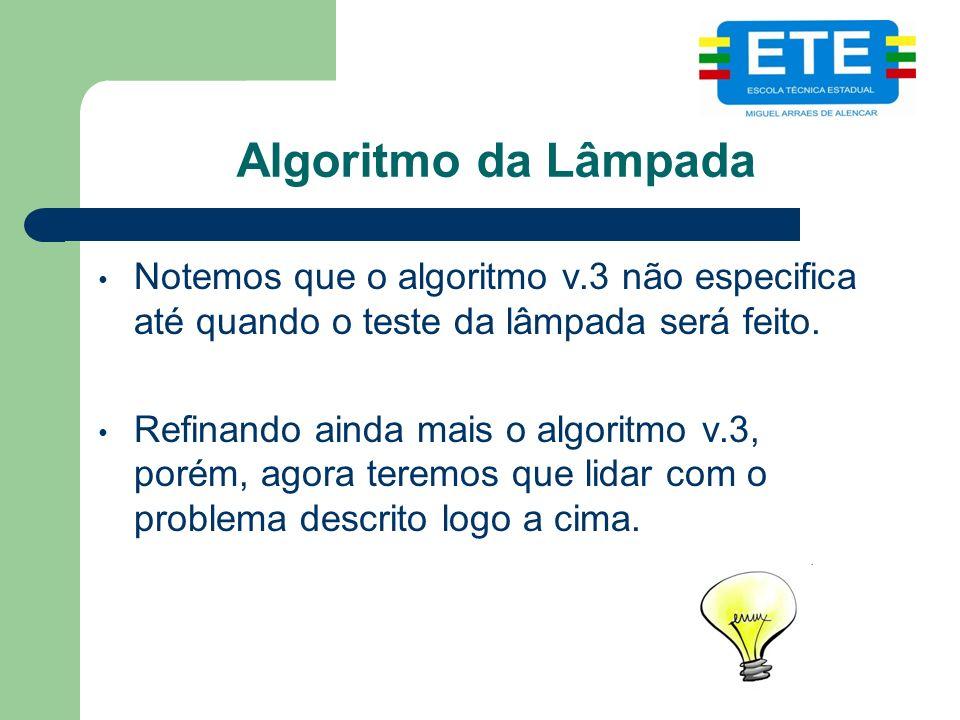 Algoritmo da Lâmpada Notemos que o algoritmo v.3 não especifica até quando o teste da lâmpada será feito.