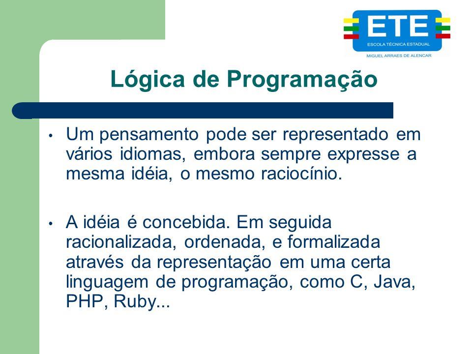 Lógica de Programação Um pensamento pode ser representado em vários idiomas, embora sempre expresse a mesma idéia, o mesmo raciocínio.