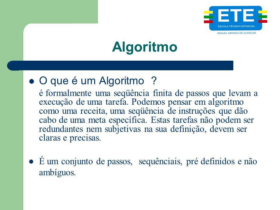 Algoritmo O que é um Algoritmo
