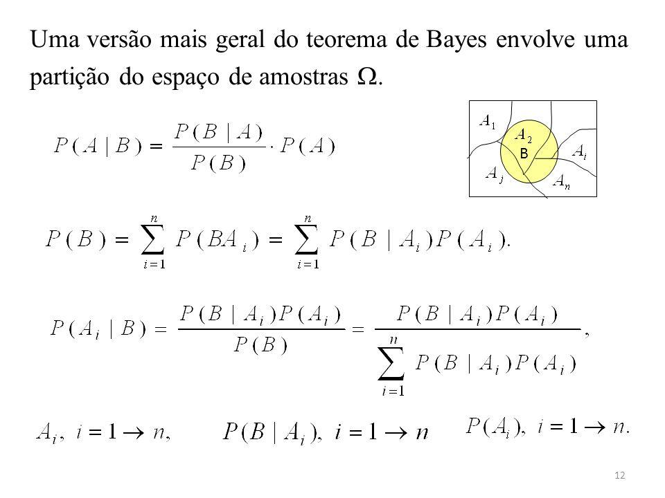 Uma versão mais geral do teorema de Bayes envolve uma partição do espaço de amostras .