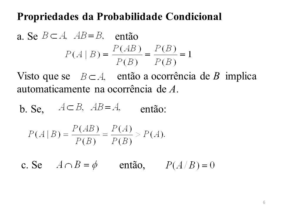 Propriedades da Probabilidade Condicional