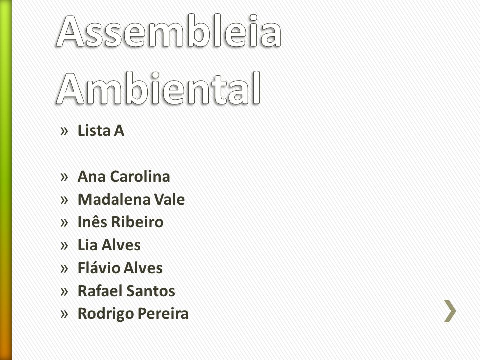 Assembleia Ambiental Lista A Ana Carolina Madalena Vale Inês Ribeiro