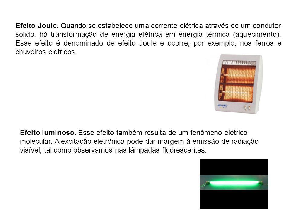 Efeito Joule. Quando se estabelece uma corrente elétrica através de um condutor sólido, há transformação de energia elétrica em energia térmica (aquecimento). Esse efeito é denominado de efeito Joule e ocorre, por exemplo, nos ferros e chuveiros elétricos.