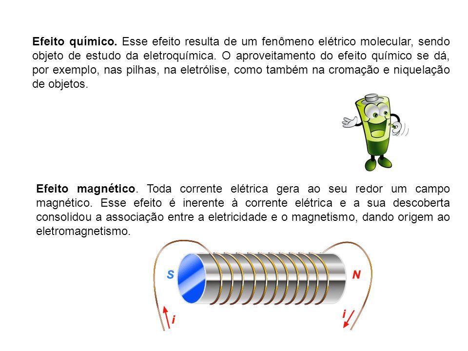 Efeito químico. Esse efeito resulta de um fenômeno elétrico molecular, sendo objeto de estudo da eletroquímica. O aproveitamento do efeito químico se dá, por exemplo, nas pilhas, na eletrólise, como também na cromação e niquelação de objetos.