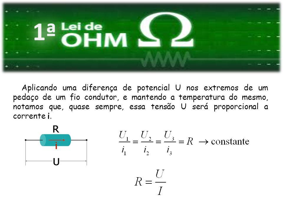 Aplicando uma diferença de potencial U nos extremos de um pedaço de um fio condutor, e mantendo a temperatura do mesmo, notamos que, quase sempre, essa tensão U será proporcional a corrente i.